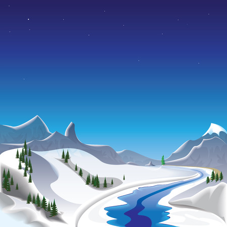 frost winter: Winter in the mountains  Illustration