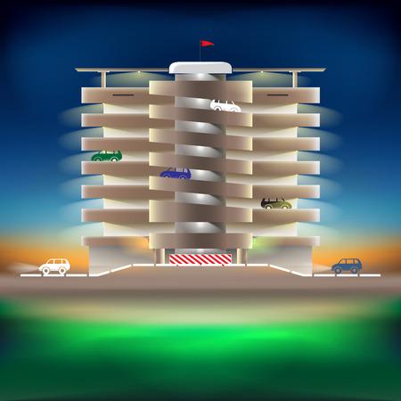 multilevel: Parking night Illustration