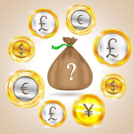 nasdaq: Money bag. Currency - the dollar - the euro - pound sterling - Yen. Vector illustration Illustration