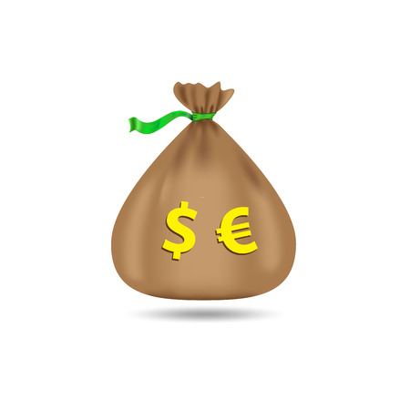 sackcloth: Sack with dollars and euros. Bag with money. On a white background. Vector illustration