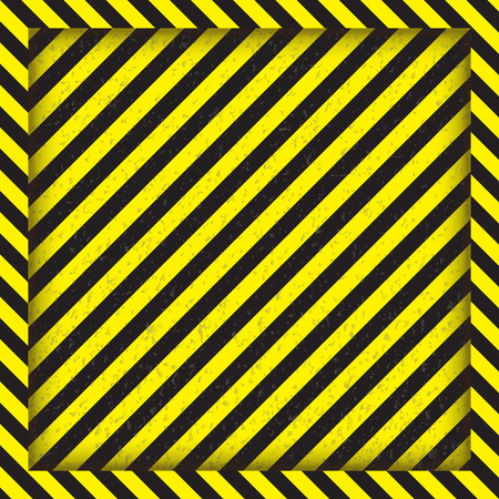 Abstract geometric lines with diagonal black and yellow stripes. The square frame. Vector illustration