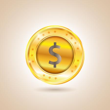 issuer: Money - Dollar Coin. Vector illustration