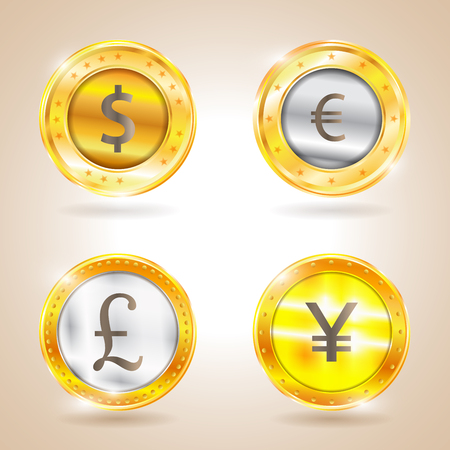 nasdaq: Currency - the dollar - the euro - pound sterling - Yen. Vector illustration