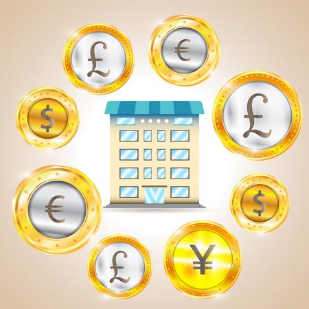 pound sterling: Moneda - el dólar - euro - libra esterlina - Yen. ilustración vectorial Vectores