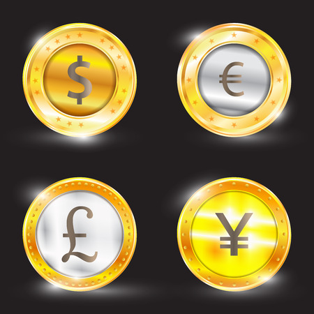 issuer: Currency - the dollar - the euro - pound sterling - Yen. Vector illustration