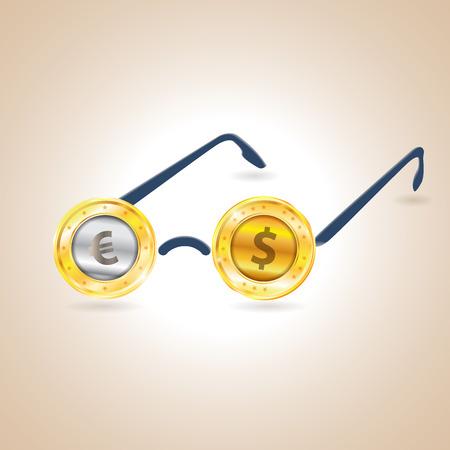 Seeing money. Vector illustration