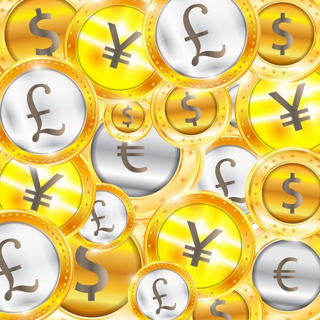 issuer: Currency, coins - the dollar - the euro - Pound - Yen. Vector illustration