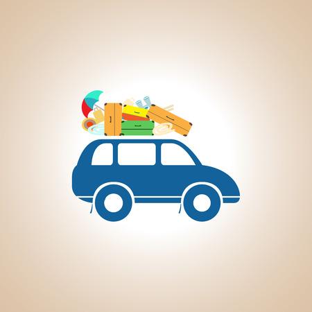 rack: A car with a roof rack.