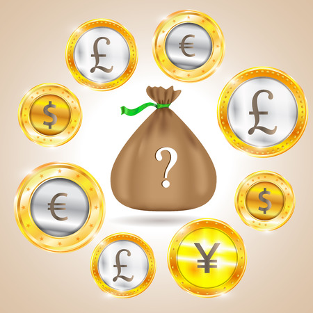 us coin: Money bag. Currency - the dollar - the euro - pound sterling - Yen.
