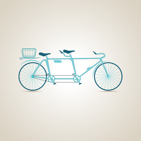 transverse: Tandem bike. Illustration Stock Photo