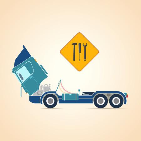 repairs: Repair of trucks. illustration Illustration