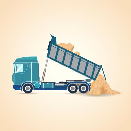 Tipper unloading. illustration