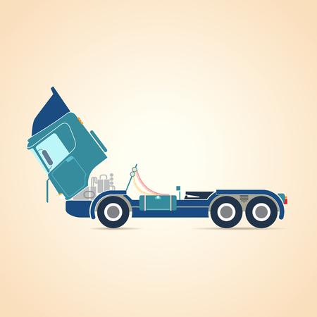 repairs: Repair of trucks. Illustration