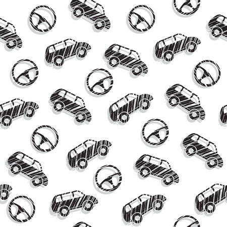 Car. Car steering wheel. Black-and-white pattern. Automotive topic. Seamless patterns. Vector illustration