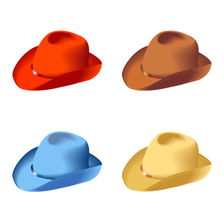 Set isolated hats, colors, vector