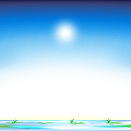 snowdrop: Spring background. Spring Sky. Spring meadow. Spring. Thaw. Melting snow. Vector illustration