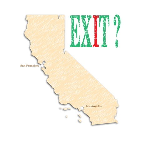 secession: The referendum in the United States on Californias independence. California campaign for independence. The question and the unknown. Calexit. Vector illustration