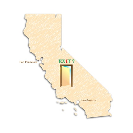 The referendum in the United States on Californias independence. California campaign for independence. The question and the unknown. Calexit - secede California. Vector illustration