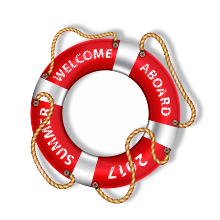 Colorful life buoy with the inscription (Welcome aboard), vector illustration Illustration