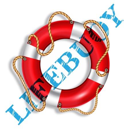 coast guard: Lifebuoy red, inscription - lifebuoy, isolated, vector illustration