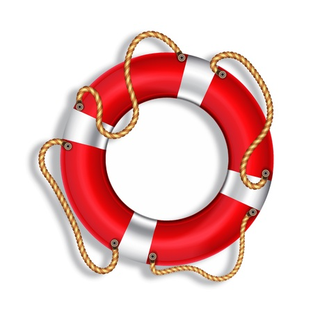 Lifebuoy, red, isolated, vector image Illustration