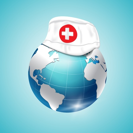 World Health Day, planet earth, medical cap. Vector illustration
