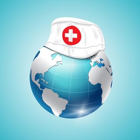 World Health Day, planet earth, medical cap. Vector illustration Vetores