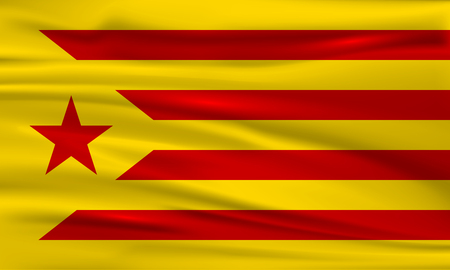 Flag of Catalonia. Flag of the socialist movement of Catalonia. Vector flag. Vector illustration