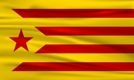 Flag of Catalonia. Flag of the socialist movement of Catalonia. Vector flag. Vector illustration