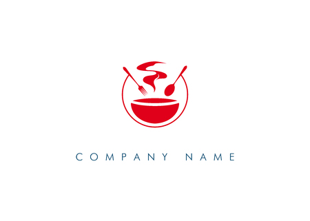 Logo of public catering in red. Logo of food. Isolated on white background. Vector illustration