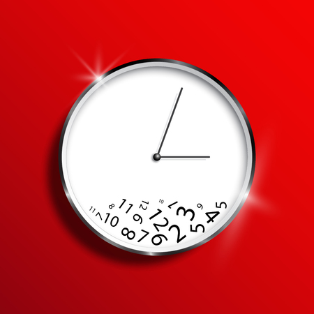 A wall clock on a red background, a mess. Time management, illustration