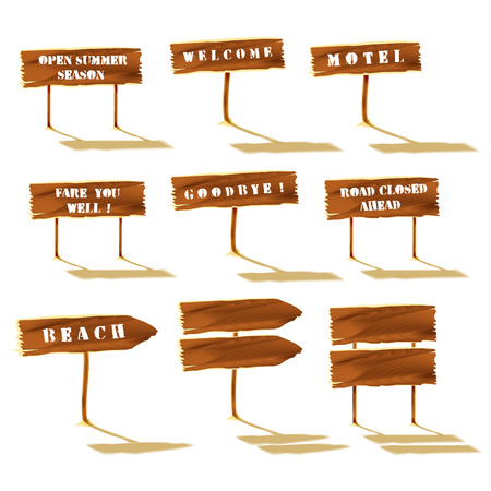 wooden post: Wooden signs set, isolated objects