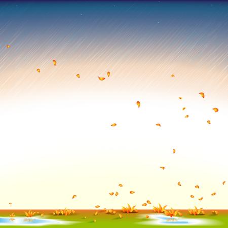 Autumn background, rainy, wind, leaf fall, illustration