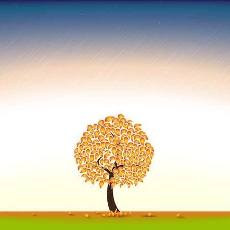 Autumn. Autumn tree in the background. Autumn day. Autumn Meadow. Yellow foliage. Illustration