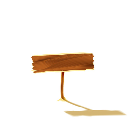 wooden post: Wooden plate isolated. Illustration Stock Photo