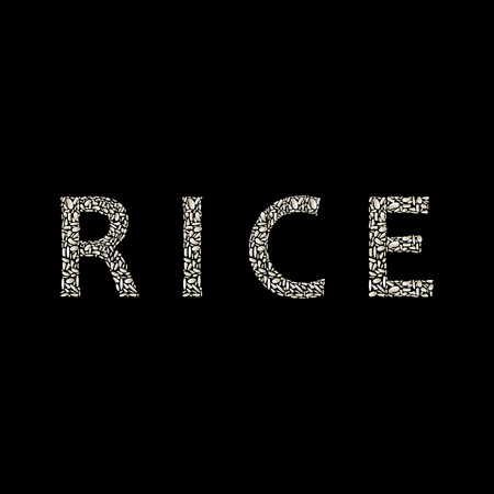 Rice. Inscription in the form of rice. Illustration