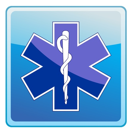 medical emblem: medicine symbol icon on blue background vector illustration