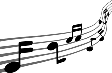 crotchets: Music notes on staves Illustration
