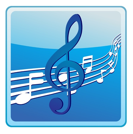 key signature: Music notes on staves icon Illustration