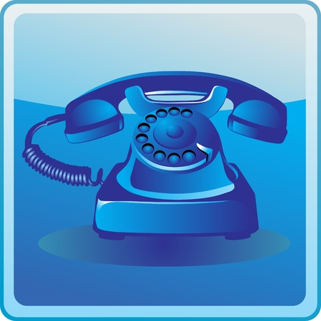 Blue Classic Phone icon Vector
