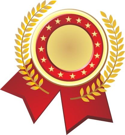 primer premio: Gold Label Con Cintas, aislado en el fondo, Ilustraci�n Vectores