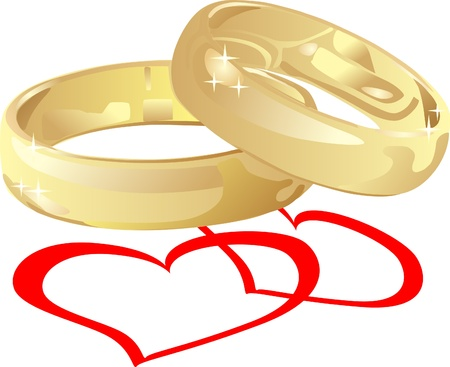 golden wedding rings with hearts Stock Vector - 13521206