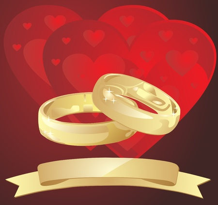 golden wedding rings with hearts Vector
