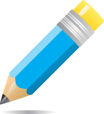 pencil symbol: Color pencil isolated on white background Illustration