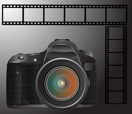reflex camera: digital SLR camera with film Illustration