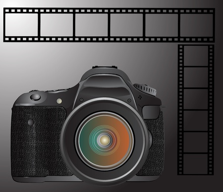 digital slr: digital SLR camera with film Illustration