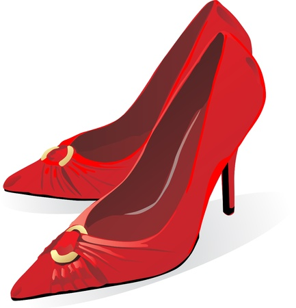 illustration of pair of red high heel shoe for female  Vector