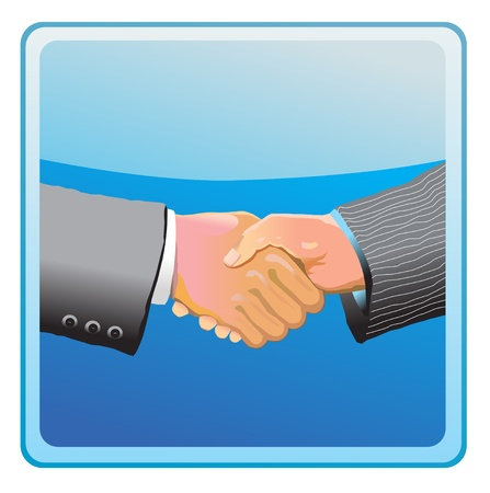 business contract: Two businessman shaking hands vector icon Illustration