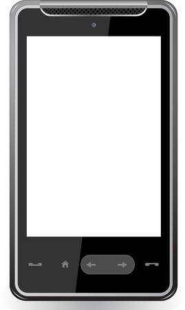 Realistic mobile phone with blank screen isolated on white background Stock Vector - 13521458