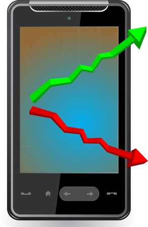 Realistic mobile phone with arrow on screen Vector